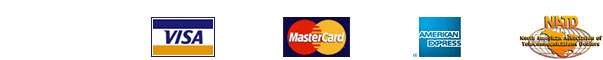 VeriSign Secured logo, Visa logo, Mastercard logo, American Express logo, NATD logo